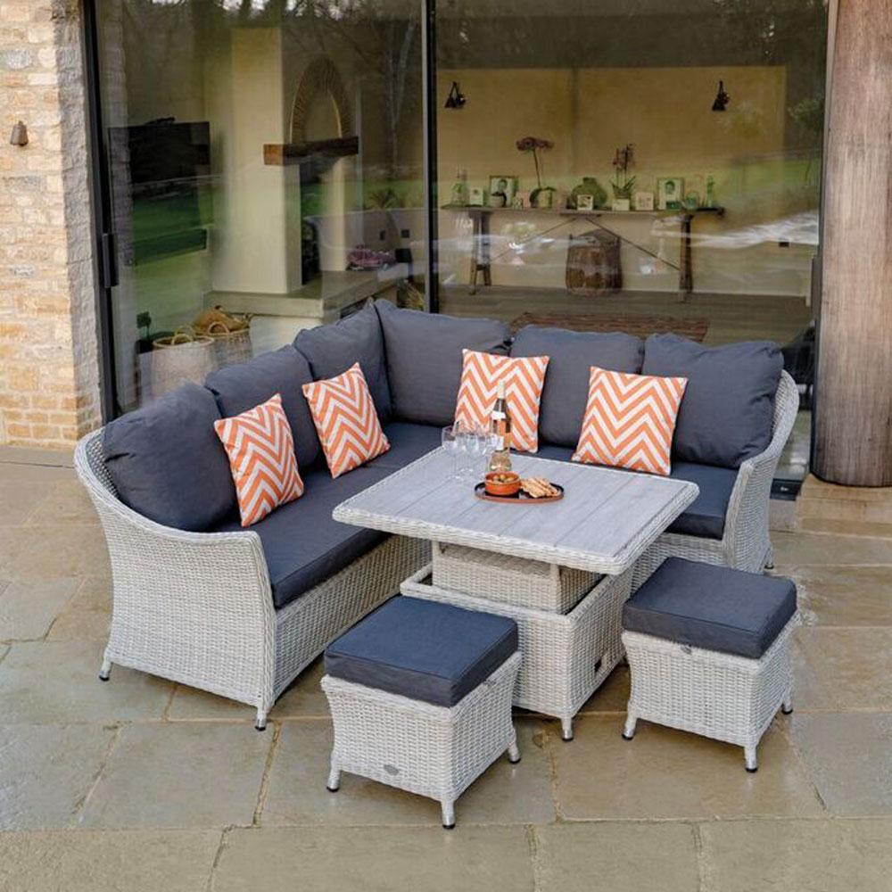 2019 Bramblecrest Monterey Outdoor Sofa Set With Adjustable Ceramic Garden Dining Table
