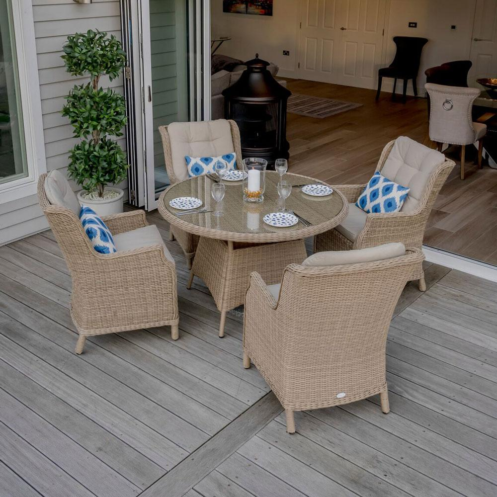 2019 Bramblecrest Oakridge 120cm Table with 4 High-Back Armchairs (No Parasol)